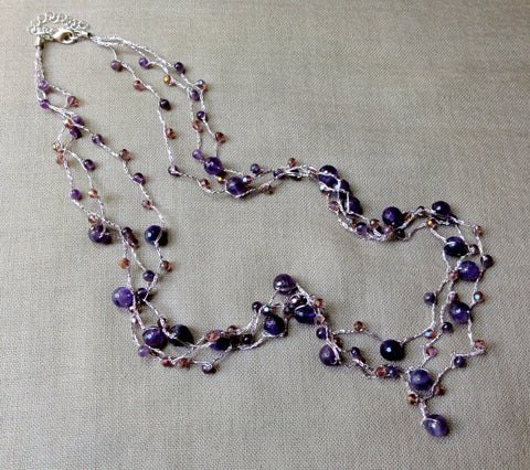 Layered Necklace w/ Amethyst, Pearl and Crystal