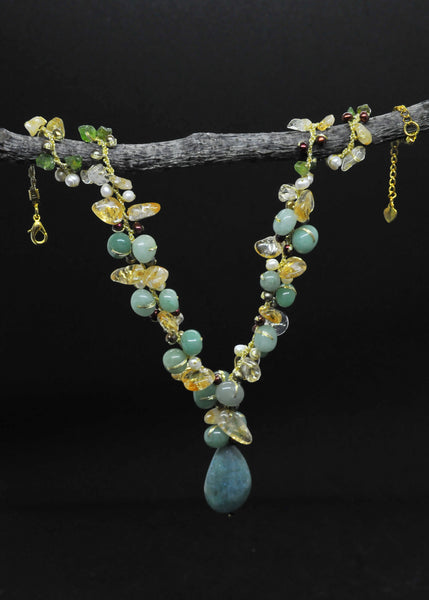 Citrine, peridot, agate and pearl necklace