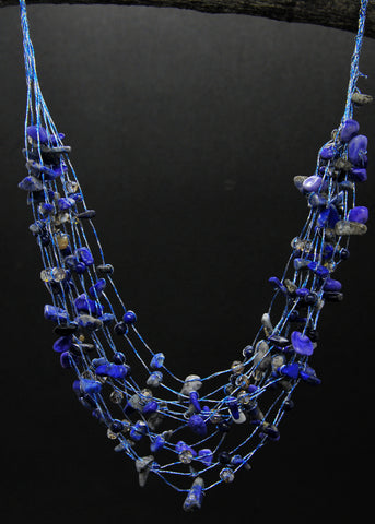 Maxi-cascade lapis chips with crystal necklace