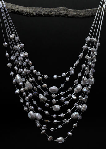 Multi-sized oval gray pearl 7 strand necklace