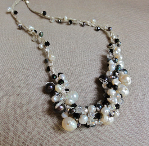 Black & White Pearl Cluster Necklace with Crystal Accents