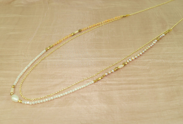 Long necklace w cream FWP, agate crystal + chain