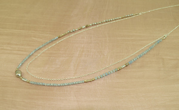 Long necklace w gray FWP, agate crystal + chain