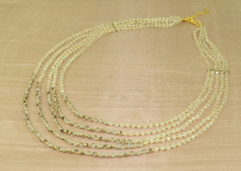 Necklace w white gold crystal + gold bead