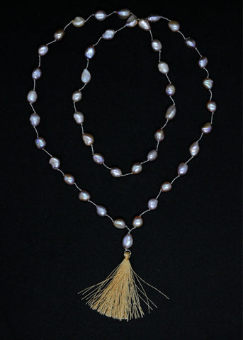 Long necklace w pink freshwater pearl + tassel