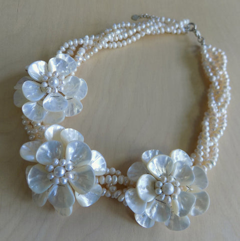MOP flower multi-strand necklace