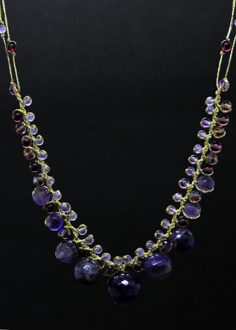 Amethyst, jade graduated necklace