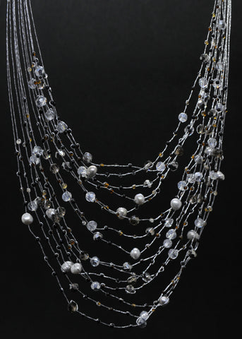 Maxi-cascade gray black crystal, gem + pearl necklace - tourmaline