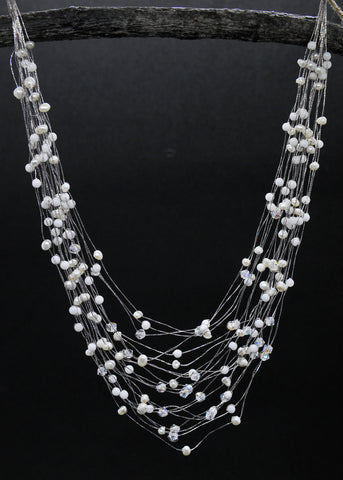 Maxi-cascade white jade and pearls, crystal, gem necklace