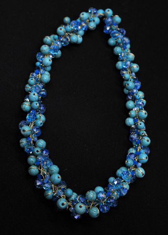 Turquoise with blue pearl and crystal resort necklace