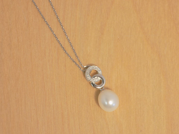 9 mm CLW pearl Linked ''O'' w/cz pendant  925R