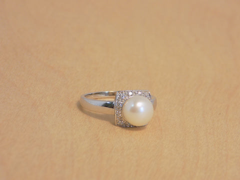 7 mm CLW Pearl cz Square ring 925R  6