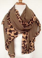 Cotton w Animal Border - Light Brown