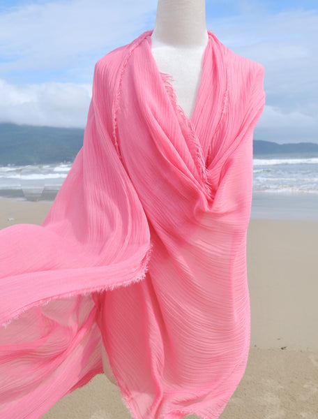Solid Modal & Viscose Scarf in Strawberry