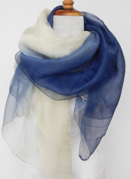 Soft double layer silk w wool ombre scarf in white Blue