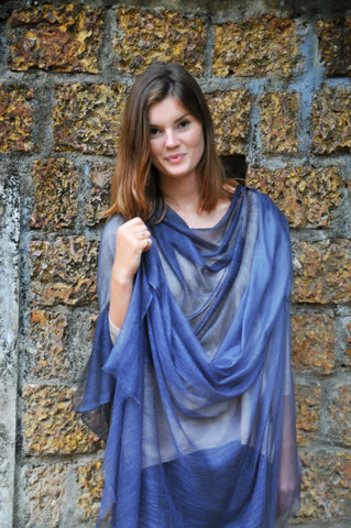 Cashmere Luxembourg Wrap - Evening Blue