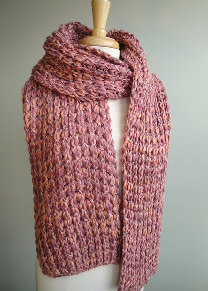 Multi-color Knit Scarf in Primrose pink