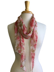 Dreamy Floral Chiffon Scarf in Red