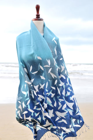 Thai Silk Art Scarf - Deep Sea Blue Beach Hut