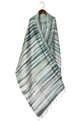 Thai Silk Art Scarf - Light Gray Spires - ETA Nov 30
