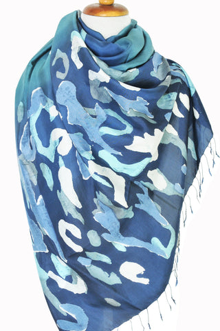 Hand-painted Thai Silk Art - Blue Ital Camo