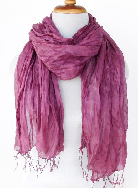 Crinkled Silk Scarves - Beaujolais -  ETA Aug 10