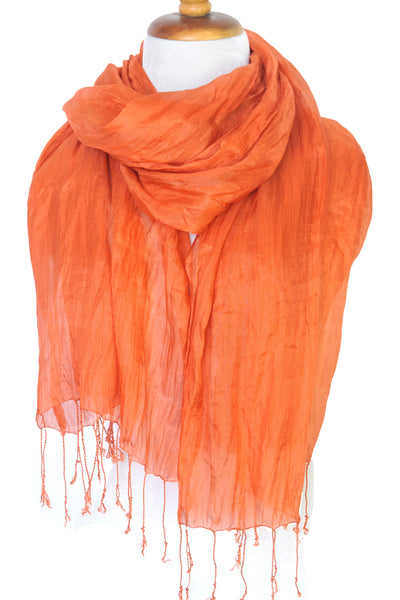 Crinkled Silk Scarves - Cinnamon Stick