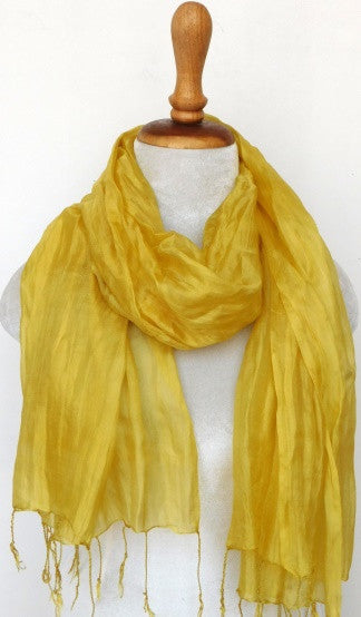 Crinkled Silk Scarves - Rich Gold