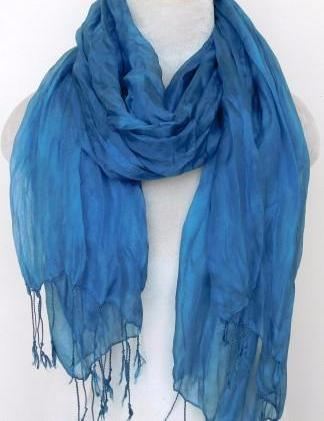 Crinkled Silk Scarves - Riverside Blue