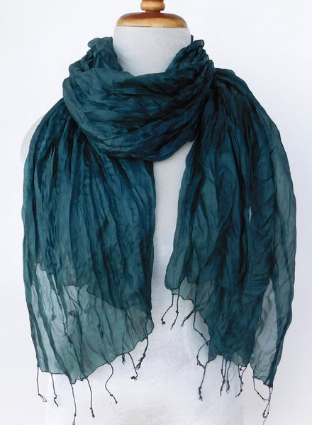 Crinkled Silk Scarves - Steel Blue