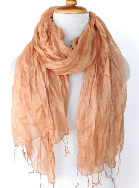 Crinkled Silk Scarves - Peach