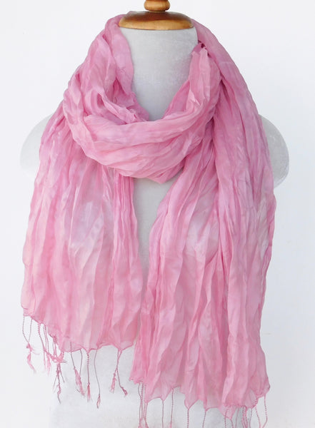 Crinkled Silk Scarves - Rose