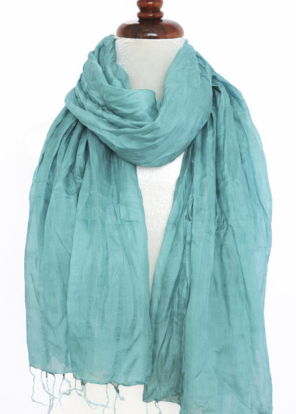 Crinkled Silk Scarves - Teal- ETA Aug 10