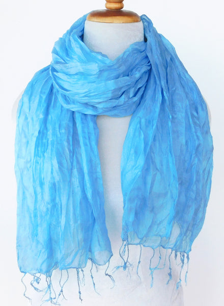 Crinkled Silk Scarves - Turquoise
