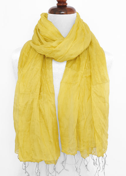 Crinkled Silk Scarves - Yellow