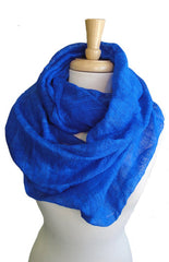 Silk Infinity Scarf in Cobalt Blue
