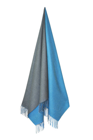 Inside Out Shawl - Blue w Dark Gray