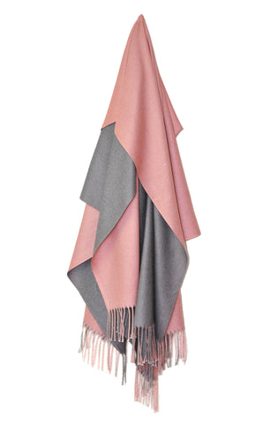 Inside Out Shawl - Pink w Dark Gray