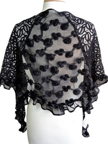 Triangular Rose Scarf in Black