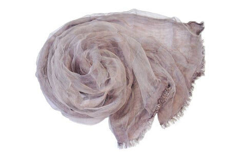 Soft double layer silk w cotton scarves in Fig