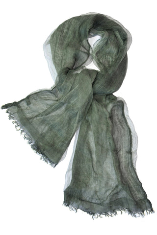 Soft double layer silk w cotton scarves in Ardennes Green - ETA Nov 23