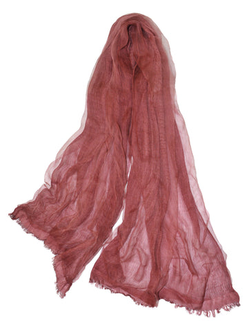Soft double layer silk w cotton scarves in Maroon