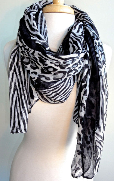 Batik Cheetah Scarf in Black