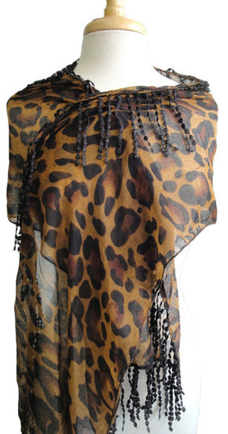 Sheer Cheetah Scarf with Delicate Trim Detail