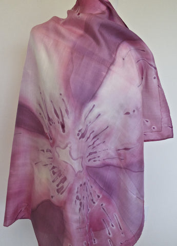 Medium Square Hand Painted Silk Scarf - Orchid Dream