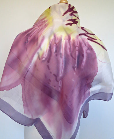 S261 Medium Square Hand Painted Silk Scarf - Orchid w Dusk Border