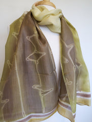 Hand Painted Silk Scarf - Olive w Brown Leaves