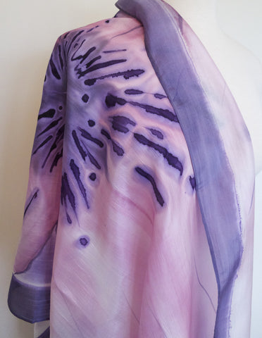 Hand Painted Silk Scarf - Pink w Purple Radiance