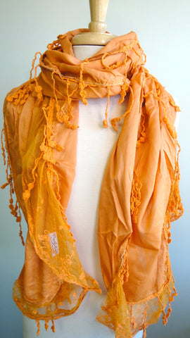 Solid with Lace Scarf in Mandarin Orange
