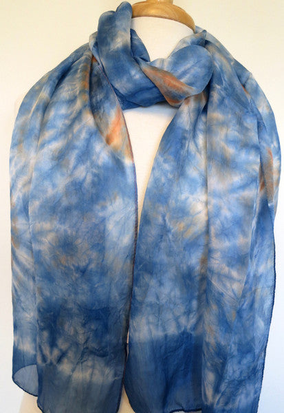 Skinny Water Color Silk scarf -  Swedish Blue